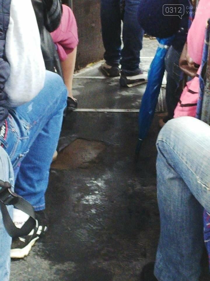 Скотч не допомагає: в ужгородській маршрутці №21 на брудні сидіння пасажирів капає вода (ФОТО), фото-4