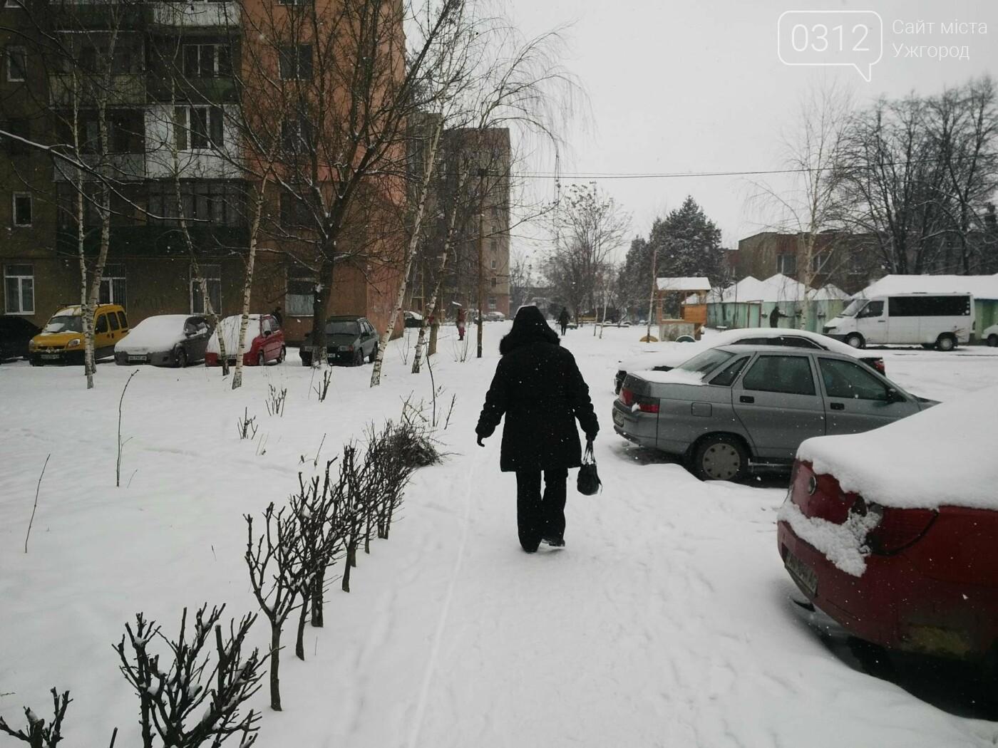Ужгород - наодинці зі снігом: тротуари не розчищені та непідсипані, у двори не ступала нога комунальника (ФОТОРЕПОРТАЖ), фото-6