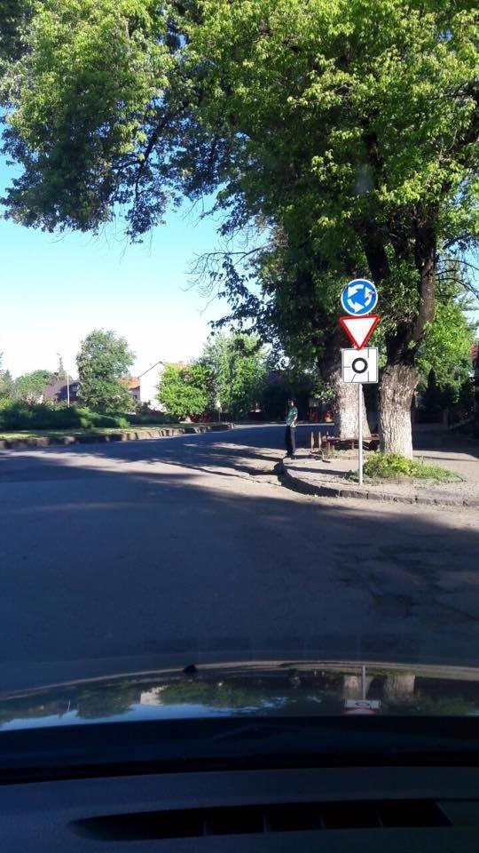 В Ужгороді на колах площ Б.Хмельницького і Дружби народів з'явилися нові знаки: фото, фото-2
