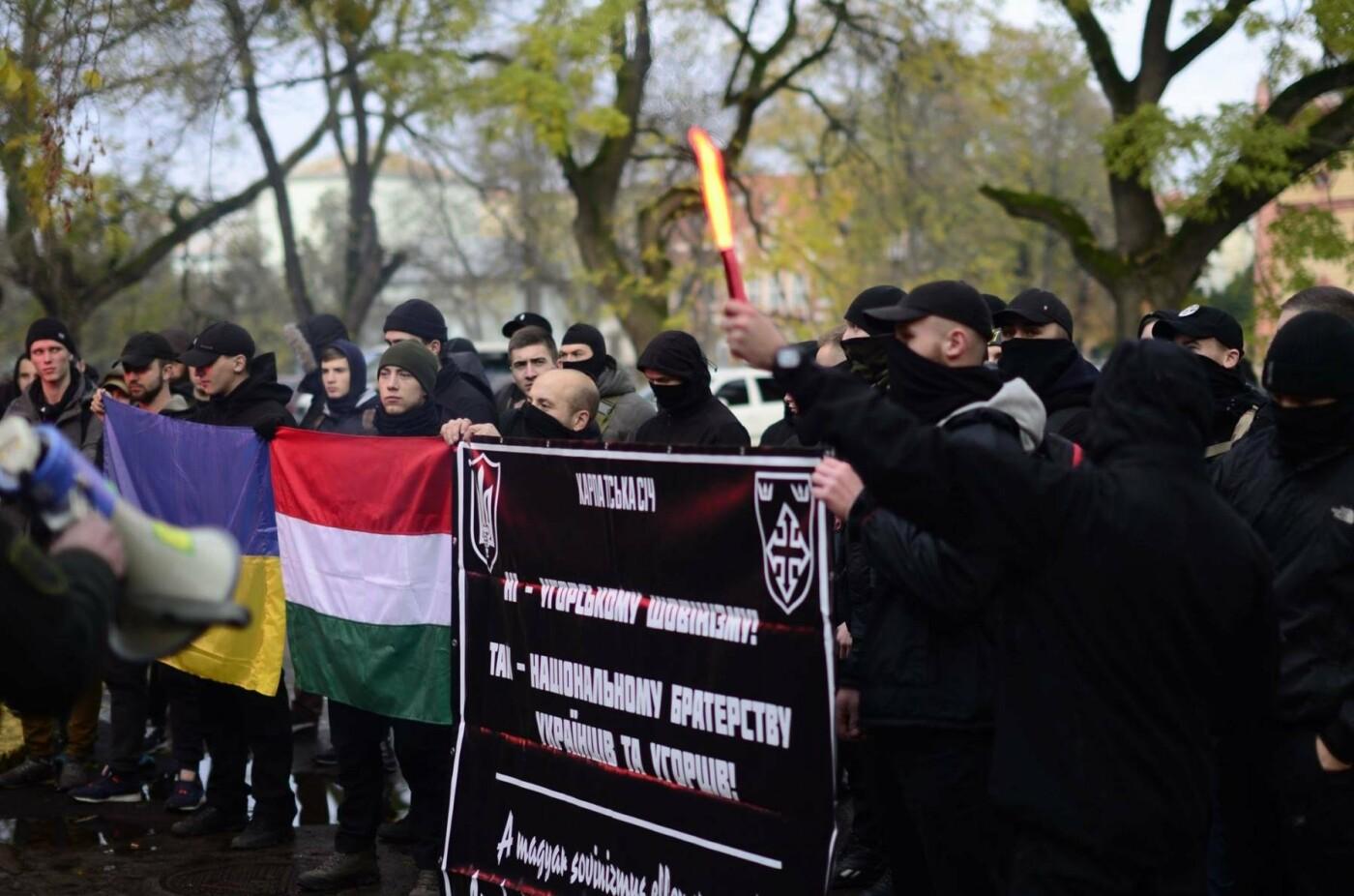 """В Ужгороді перед консульством Угорщини націоналісти """"Карпатської Січі"""" провели акцію, запаливши """"фаєри"""": фото, фото-11"""