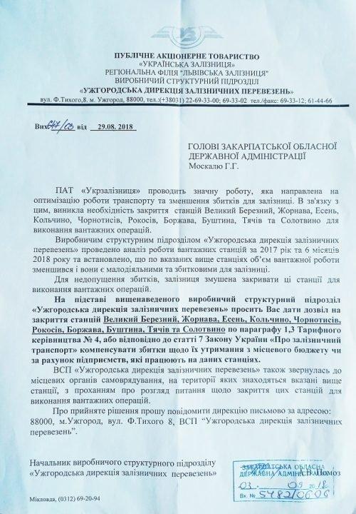 Укрзалізниця хоче закрити в області 10 збиткових вантажних станцій, Закарпатська ОДА - проти (ДОКУМЕНТ), фото-1