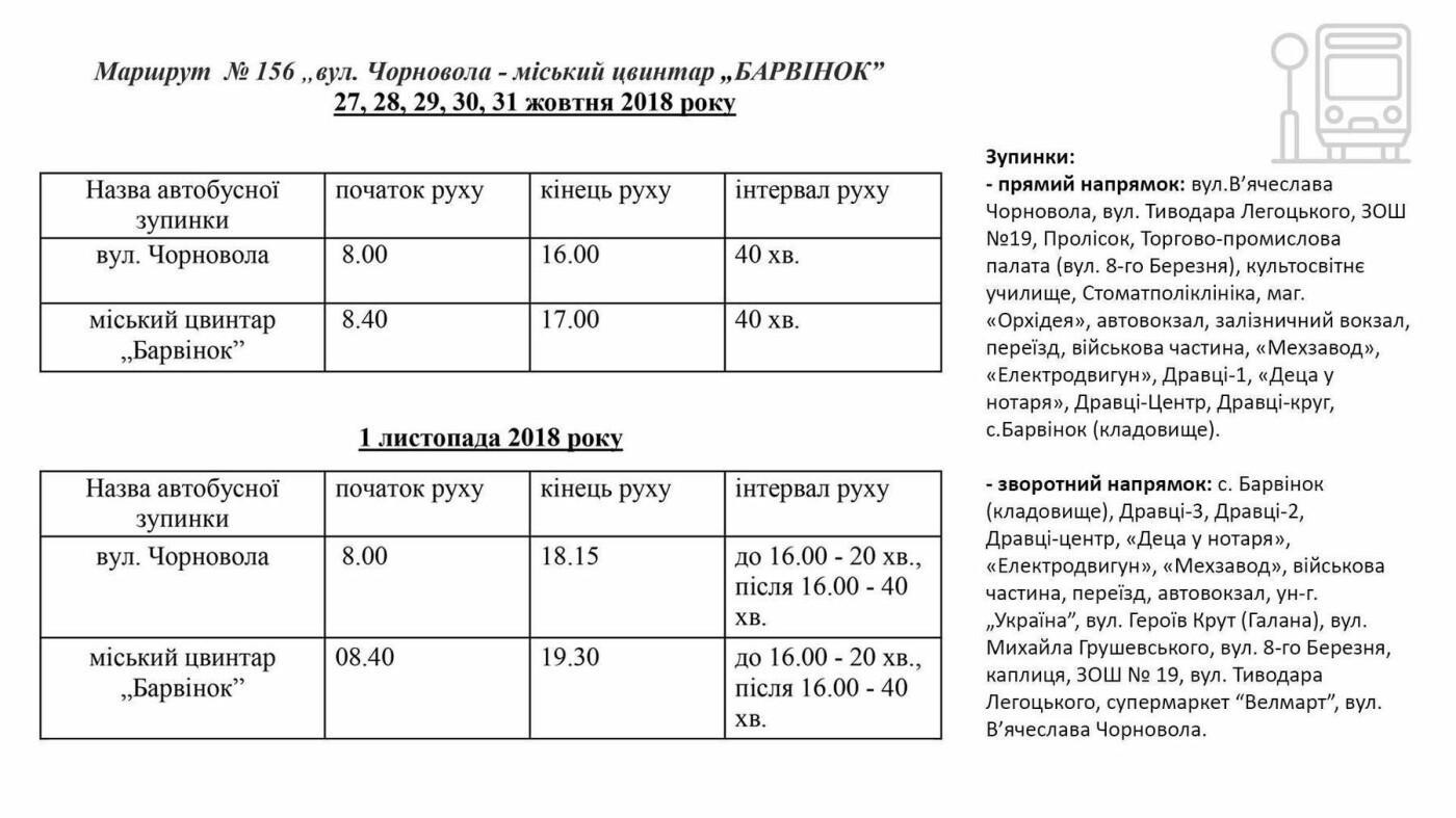 Графіки ужгородських автобусів до кладовища «Барвінок», фото-1