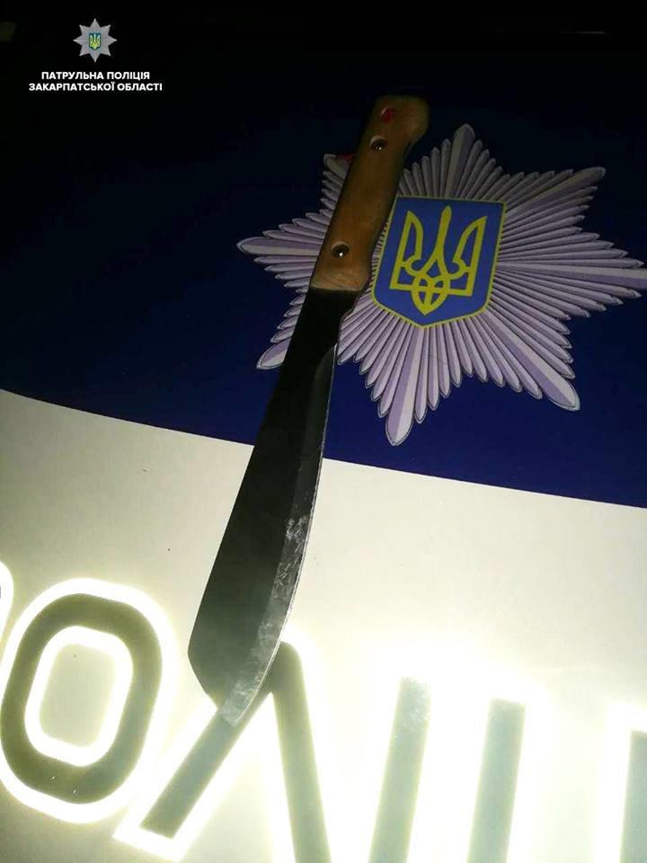В Ужгороді патрульні на Капушанській затримали чоловіка з мачете та кийком (ФОТО), фото-1