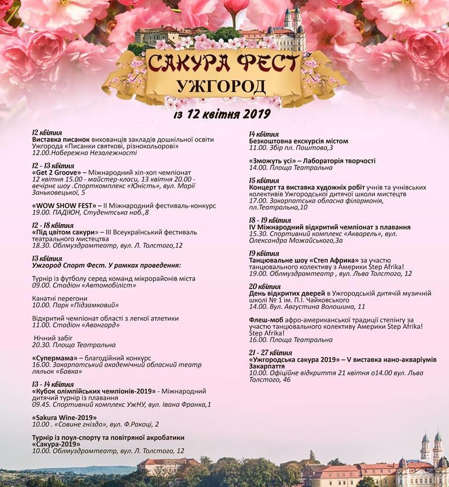"""Танцювальні шоу, виставки та екскурсії: Стала відома програма заходів """"Сакура-фесту"""" в Ужгороді, фото-1"""