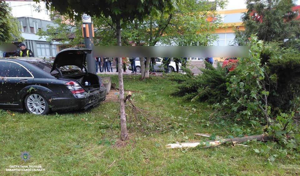 """Водій """"Mercedes"""" в Ужгороді зніс дерева та влетів у бетонну опору: подробиці від патрульних (ФОТО), фото-2"""