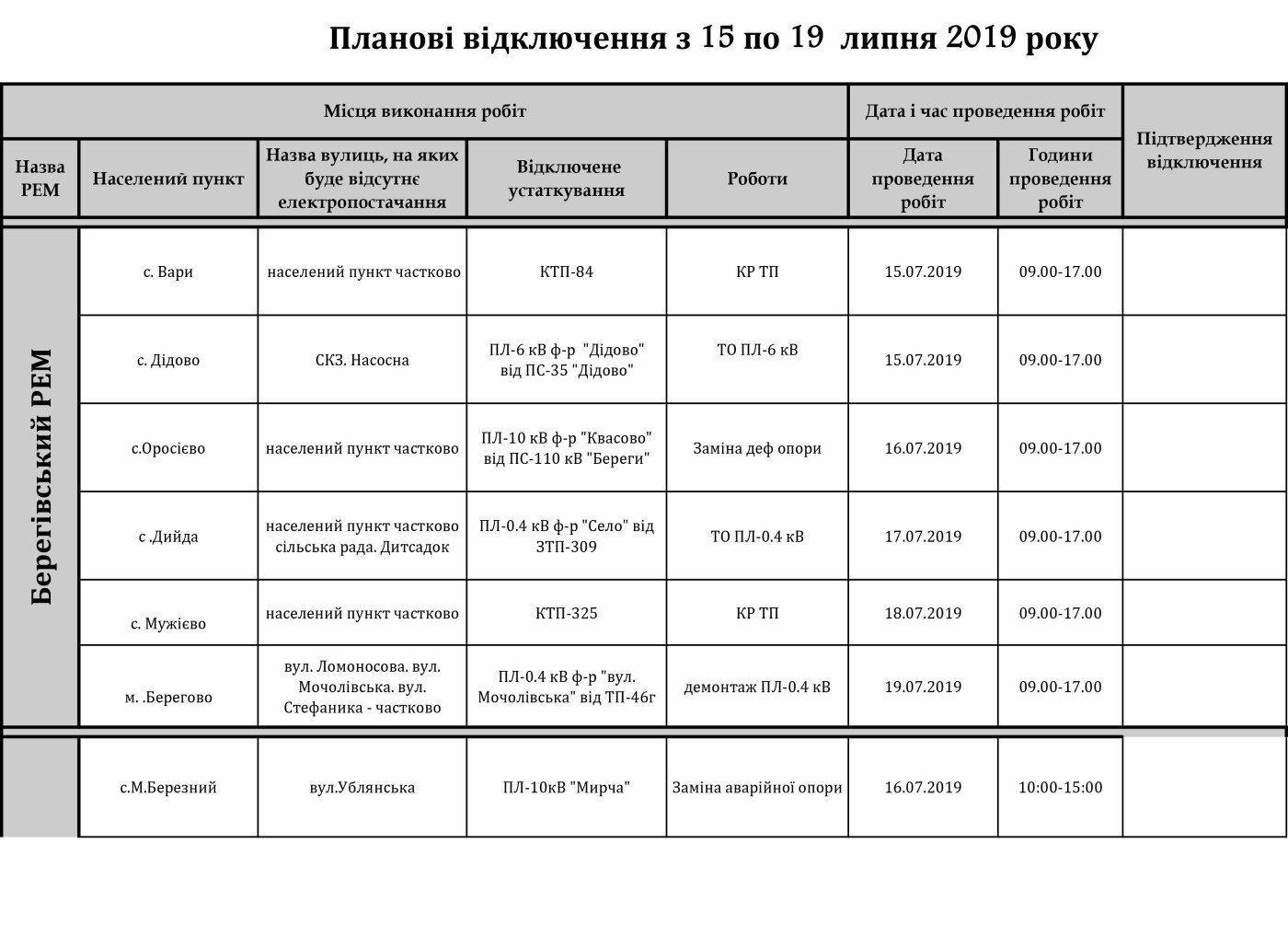 Оприлюднено графік відключення світла у районах Закарпаття з 15 по 19 липня , фото-1