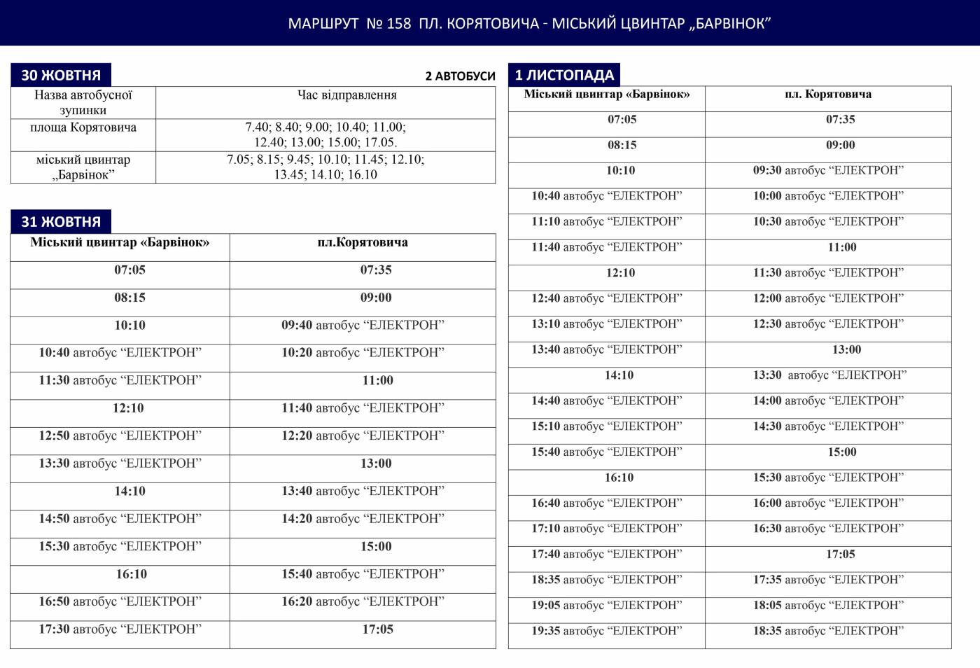 До уваги ужгородців: з'явився графік руху автобусів до Дня пам'яті, фото-1
