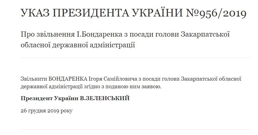 Ігоря Бондаренко - голову Закарпатської ОДА звільнили офіційно (ФОТО), фото-1