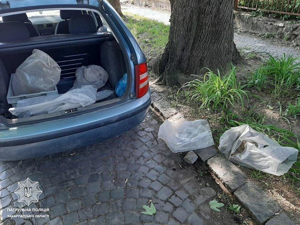 """Складав бруківку в пакети та розміщував у багажник: в Ужгороді """"на гарячому"""" спіймали злодія (ФОТО), фото-1"""