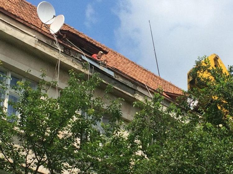 В історичній частині Ужгорода вирубали сакури, бо ремонтували дах будинку (ФОТО), фото-2