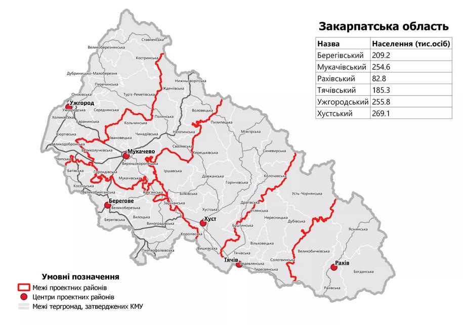 Нове районування на Закарпатті: список громад, які увійдуть в оновлені райони, фото-1