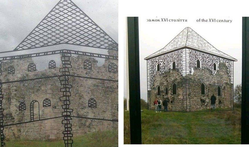 Біля Середнянського Замку перед встановленням арт-об'єкта довелося демонтовувати самовільно встановлену дошку з зображенням триповерхової б..., фото-1