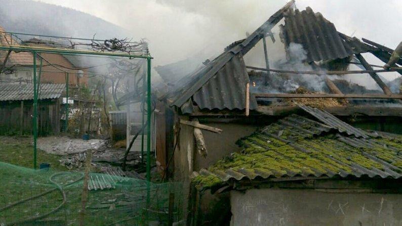 Масштабна пожежа на Закарпатті: згоріло 2 тонни сіна, покрівля будинку та перекриття (ФОТО), фото-1